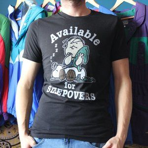 """Peanuts """"Available For Sleepovers"""" T-Shirt"""